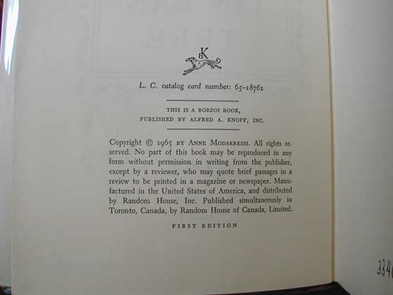 Picture of the first edition copyright page for The Tin Can Tree.