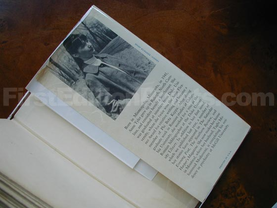 Picture of the back dust jacket flap for the first edition of The Tin Can Tree.
