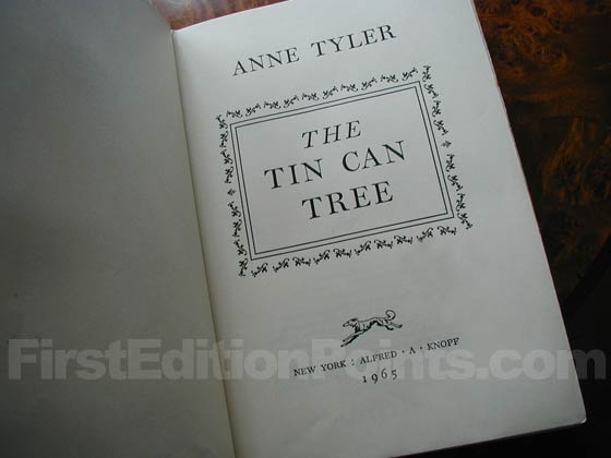 Picture of the first edition title page for The Tin Can Tree.