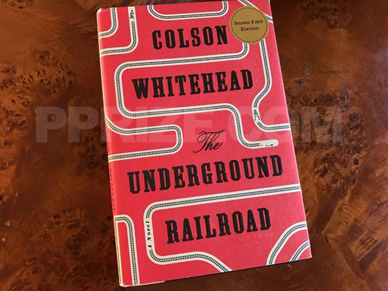 Picture of the 2016 first edition dust jacket for The Underground Railroad.