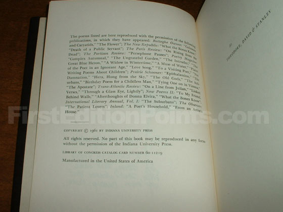 Picture of the first edition copyright page for The Ungrateful Garden.