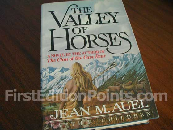 Picture of the 1982 first edition dust jacket for The Valley of the Horses.