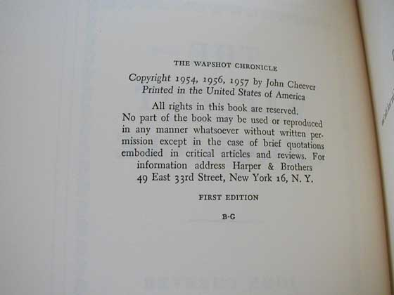 Picture of the first edition copyright page for The Wapshot Chronicle.