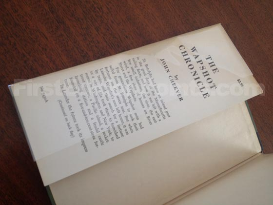 Picture of dust jacket where original $3.50  price is found for The Wapshot Chronicle.