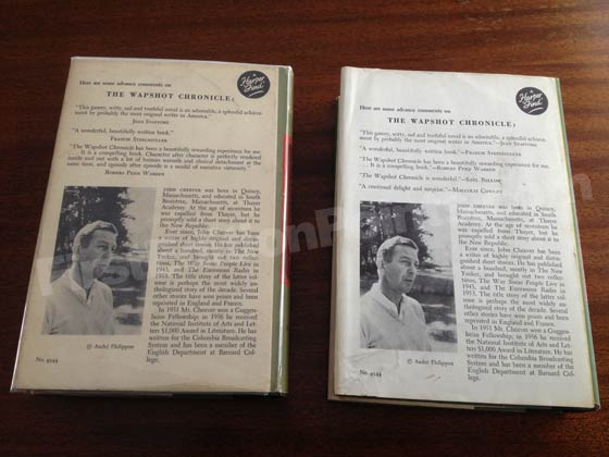 The dust jacket on the left is from a first edition of The Wapshot Chronicle. Notice the