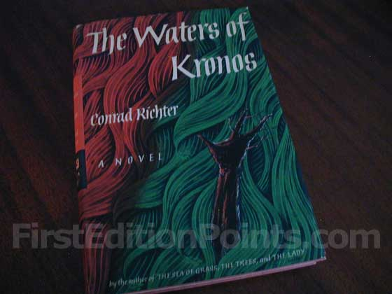 Picture of the 1960 first edition dust jacket for The Waters of Kronos.
