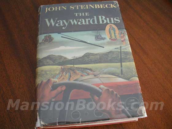 Picture of the 1947 first edition dust jacket for The Wayward Bus.