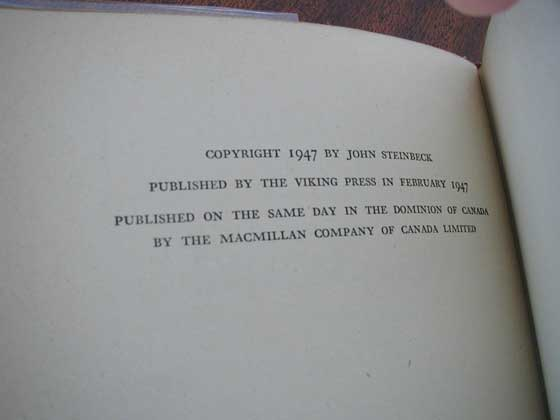 Picture of the first edition copyright page for The Wayward Bus.