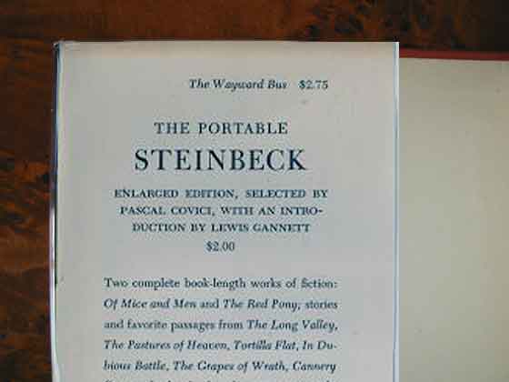 Picture of dust jacket where original $2.75  price is found for The Wayward Bus.