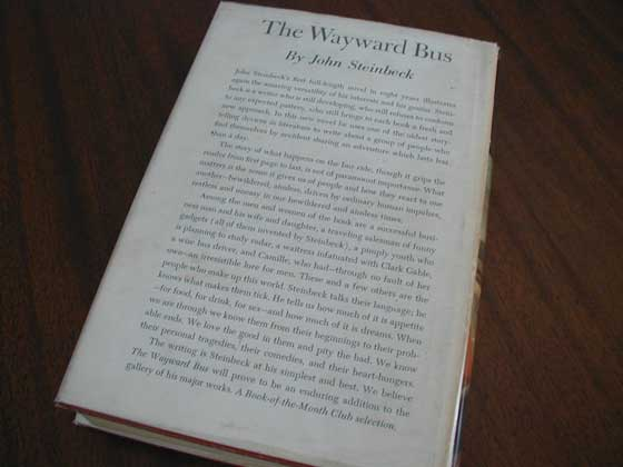 Picture of the back dust jacket for the first edition of The Wayward Bus.