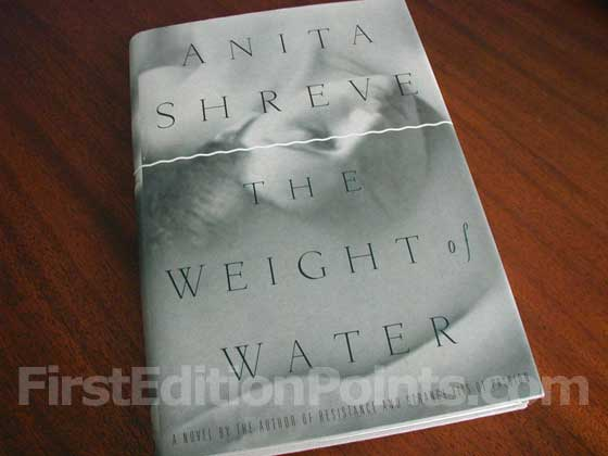 Picture of the 1997 first edition dust jacket for The Weight of Water.