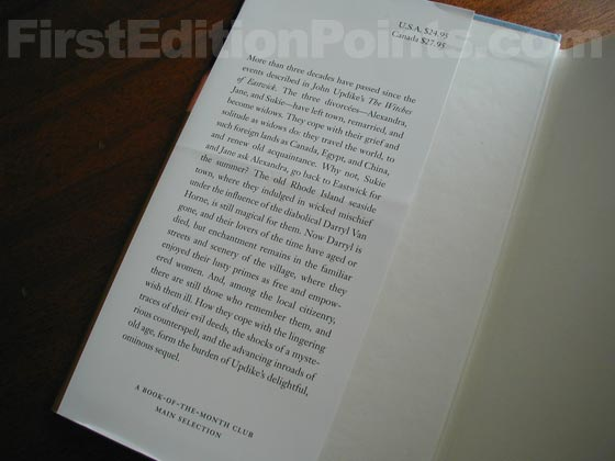 Picture of dust jacket where original $24.95 price is found for The Widows of Eastwick.