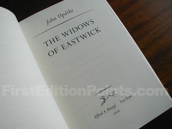 Picture of the first edition title page for The Widows of Eastwick.