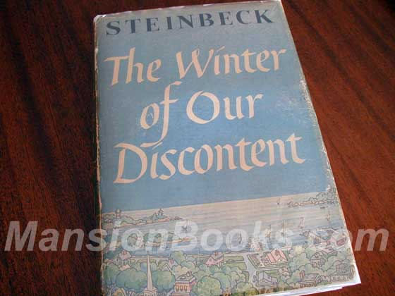 Picture of the 1961 first edition dust jacket for The Winter of Our Discontent.