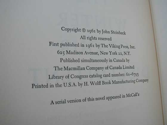 Picture of the first edition copyright page for The Winter of Our Discontent.