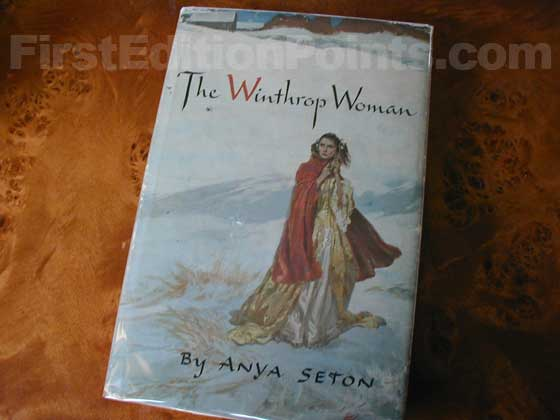 Picture of the 1958 first edition dust jacket for The Winthrop Woman.