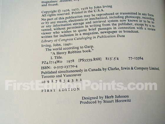 Picture of the first edition copyright page for The World According to Garp.