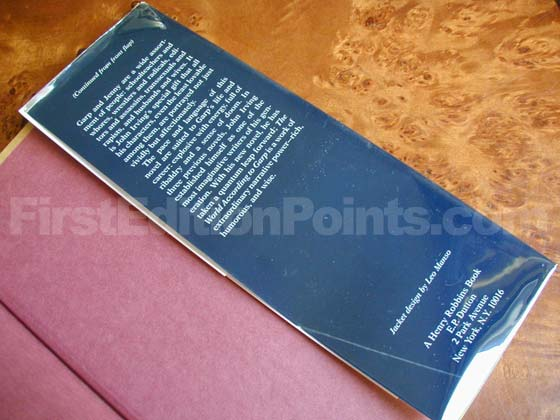 Picture of the back dust jacket flap for the first edition of The World According to