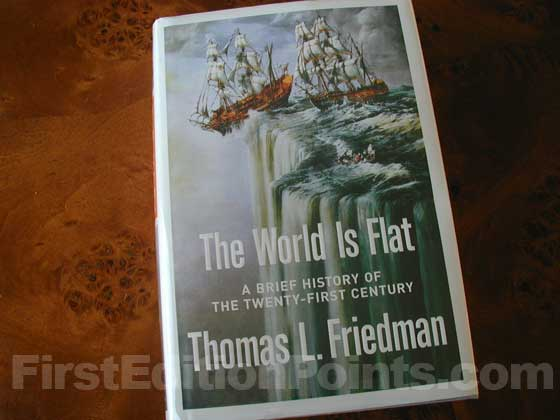 Picture of the 2005 first edition dust jacket for The World is Flat.
