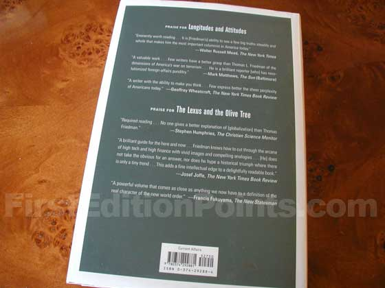 Picture of the back dust jacket for the first edition of The World is Flat.