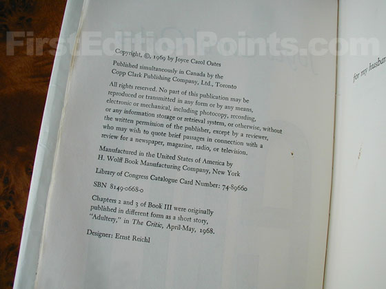Picture of the first edition copyright page for Them.