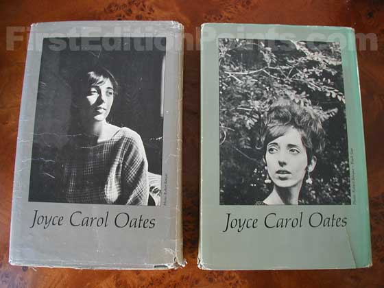 The true first edition dust jacket (on the left) features a photo of Joyce Carol Oates