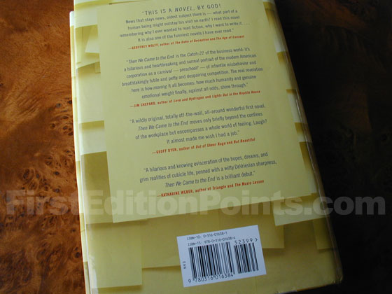 Picture of the back dust jacket for the first edition of Then We Came to the End.