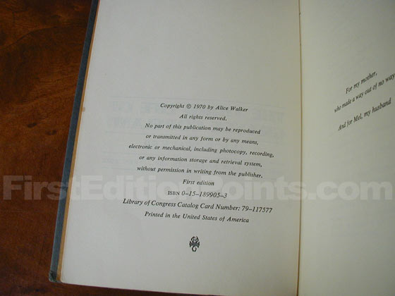 Picture of the first edition copyright page for The Third Life Of Grange Copeland.
