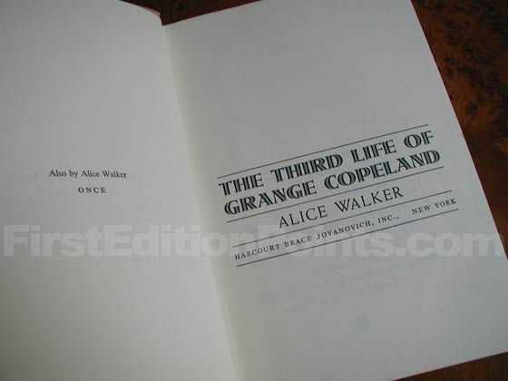 Picture of the first edition title page for The Third Life Of Grange Copeland.
