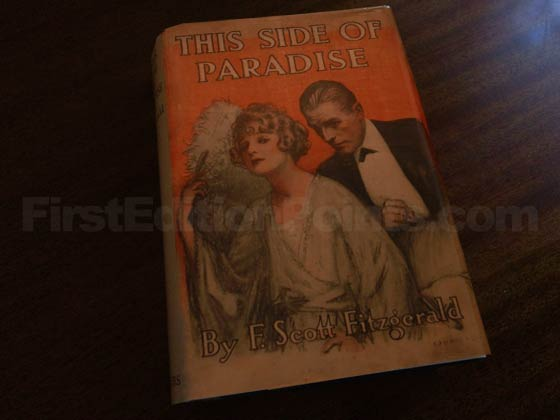Picture of the 1920 first edition dust jacket for This Side of Paradise.
