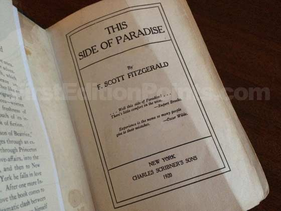 Picture of the first edition title page for This Side of Paradise.