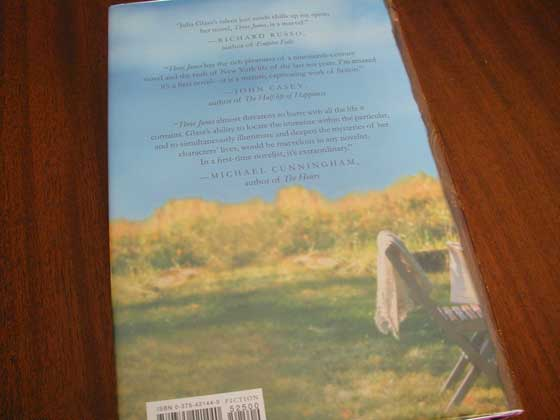 Picture of the back dust jacket for the first edition of Three Junes.