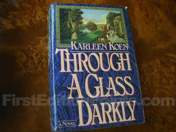 Picture of the 1986 first edition dust jacket for Through a Glass Darkly.