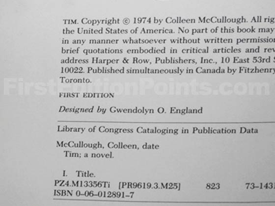 Picture of the first edition copyright page for Tim.