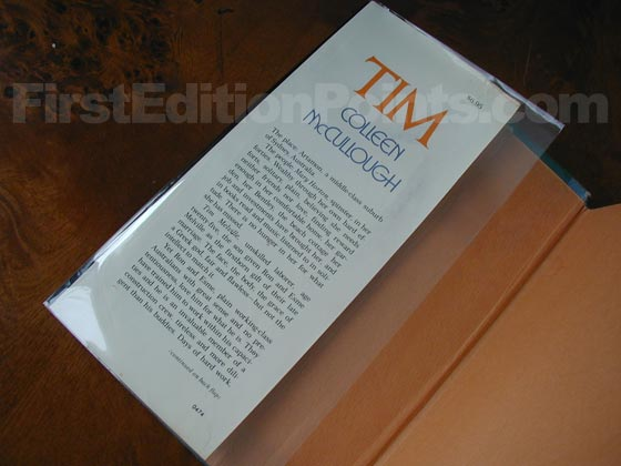 Picture of dust jacket where original $6.95  price is found for Tim.