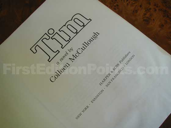 Picture of the first edition title page for Tim.