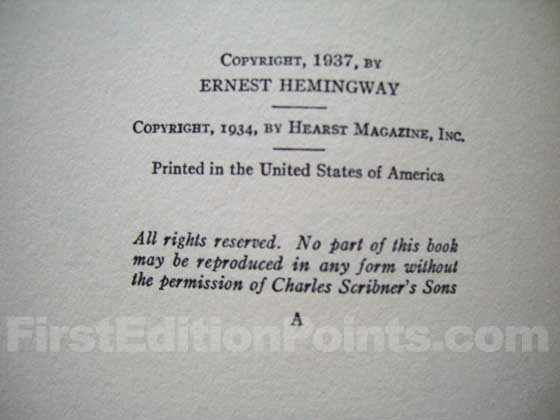 Picture of the first edition copyright page for To Have and Have Not.
