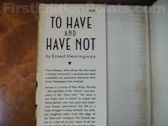Picture of dust jacket where original $250 price is found for To Have and Have Not.