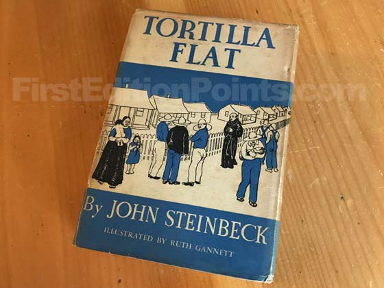 Picture of the back dust jacket for the first edition of Tortilla Flat.