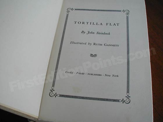Picture of the first edition title page for Tortilla Flat.