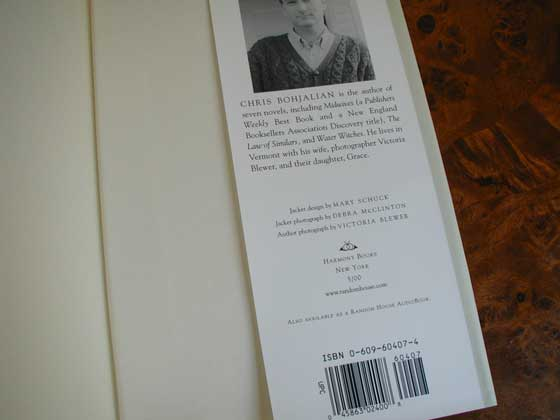 Picture of the back dust jacket flap for the first edition of The Trans-Sister Radio.