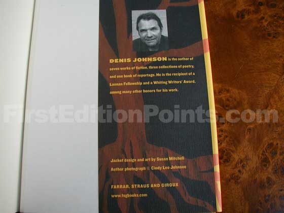 Picture of the back dust jacket flap for Tree of Smoke.