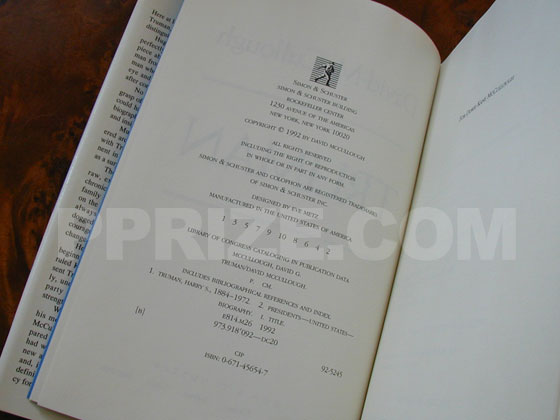 Picture of the first edition copyright page for Truman.