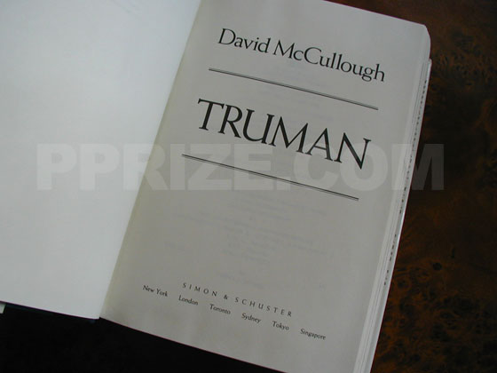 Picture of the first edition title page for Truman.