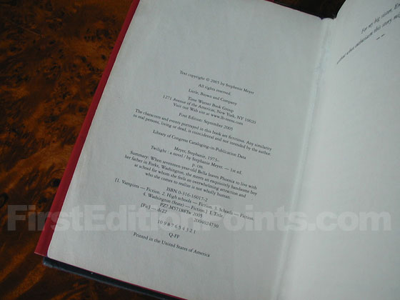 Picture of the first edition copyright page for Twilight.