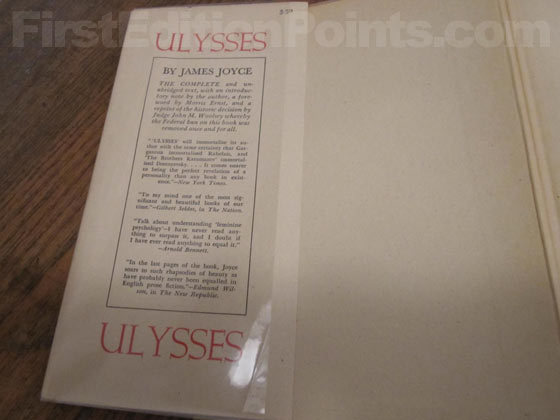 Picture of dust jacket where original 3.50 price is found for Ulysses (American Edition).