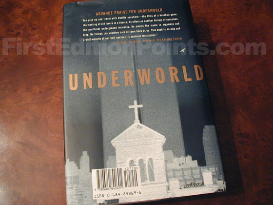 Picture of the back dust jacket for the first edition of Underworld.