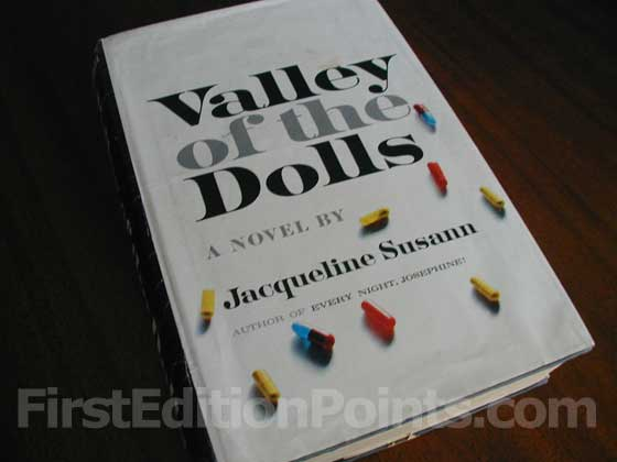 Picture of the 1966 first edition dust jacket for The Valley of the Dolls.