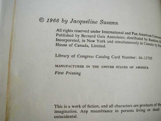 Picture of the first edition copyright page for The Valley of the Dolls.