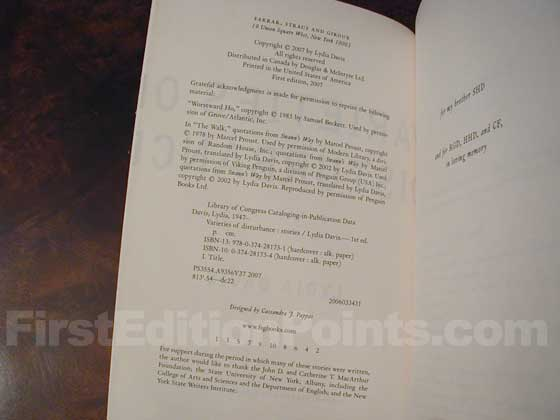 Picture of the first edition copyright page for Varieties of Disturbance.